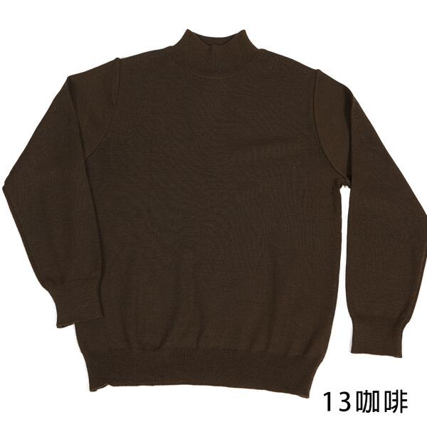 群羊101防縮純羊毛半高領上衣顯瘦咖啡色