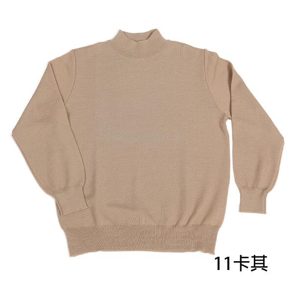 群羊保暖101純羊毛半高領上衣卡其色