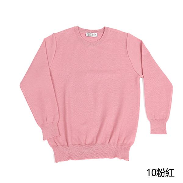群羊100%保暖防縮純羊毛衣的圓領粉紅實拍照