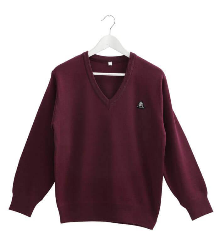 群羊woolmark 認證V領防縮純羊毛上衣暗紅色