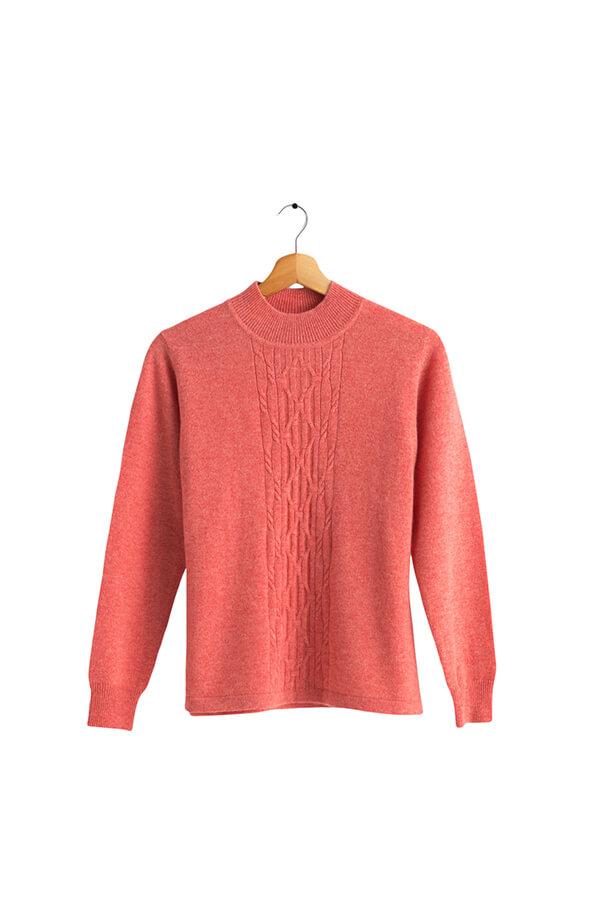 100%保暖喀什米爾高山羊絨毛衣的橘色