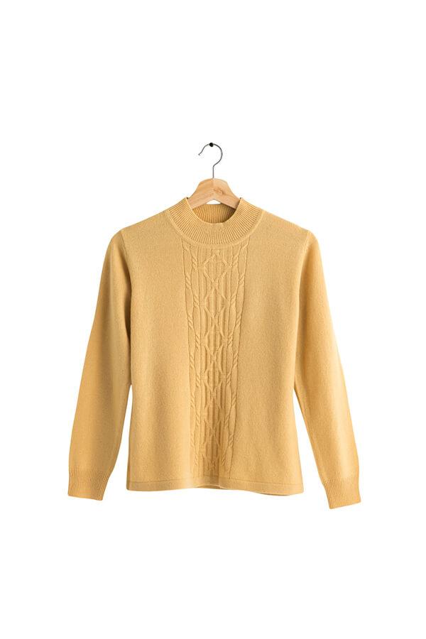 100%半高領保暖喀什米爾羊絨毛衣的鮮亮黃色