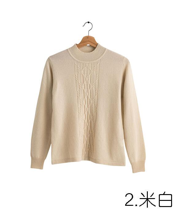 100%保暖喀什米爾高山羊絨毛衣的米白色