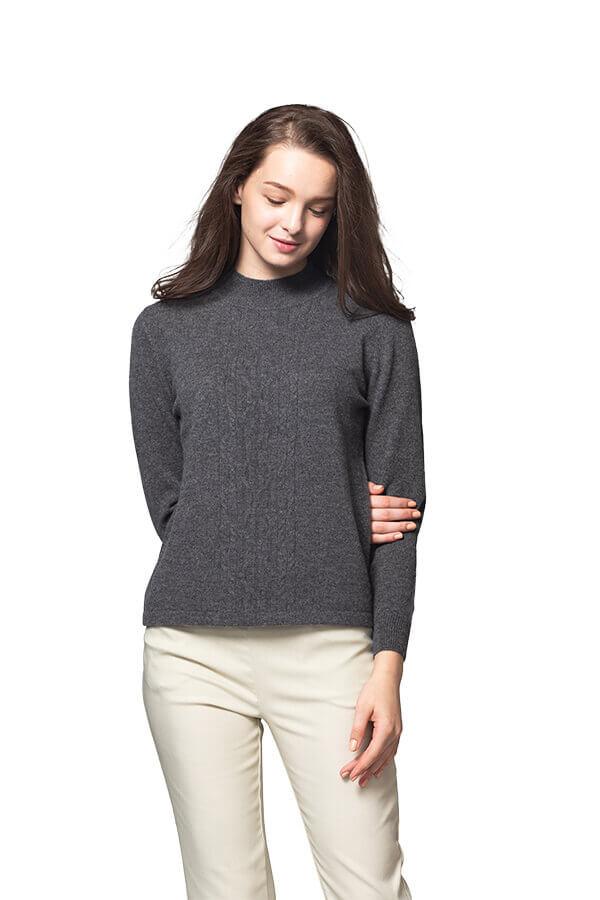 100%保暖喀什米爾高山羊絨毛衣的灰色