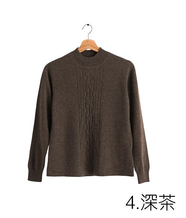 100%保暖喀什米爾高山羊絨毛衣的咖啡茶色