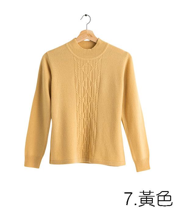 100%保暖喀什米爾高山羊絨毛衣的亮麗黃色