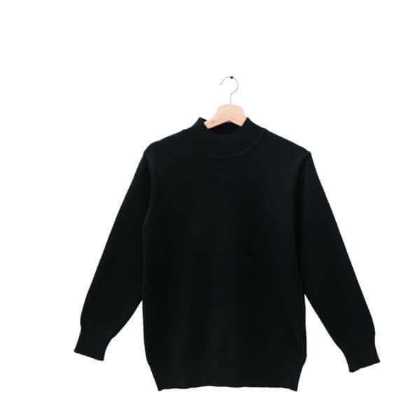 100%半高領時尚黑色18針防縮純羊毛衣
