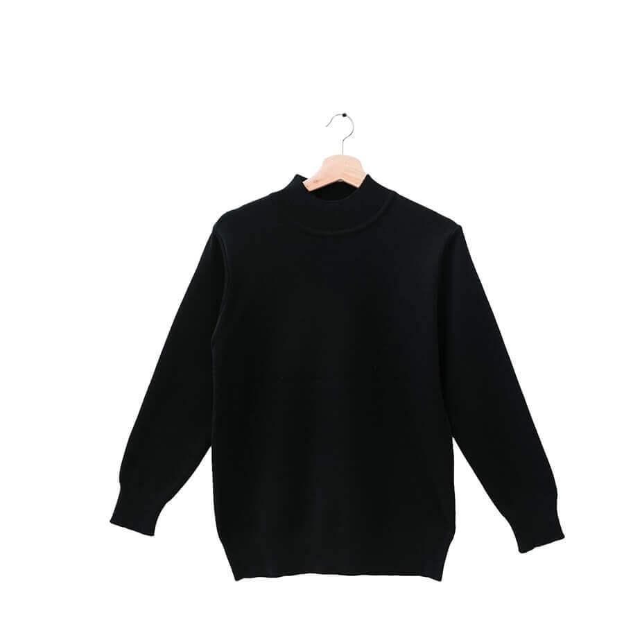 100%半高領百搭時尚黑18針防縮純羊毛衣