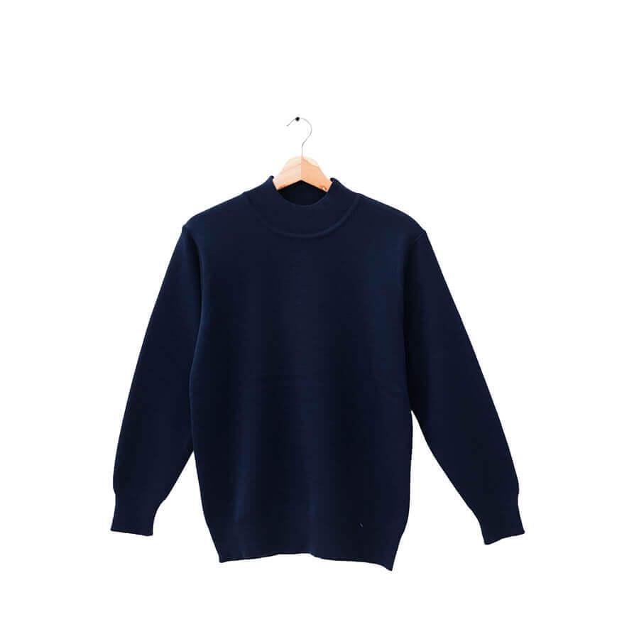 100%半高領沉穩深藍色18針防縮純羊毛衣