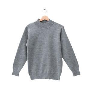 群羊100%半高領18針防縮純羊毛衣-中性的中灰色針織毛衣