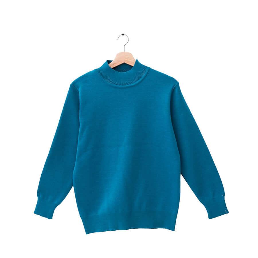 群羊100%半高領土耳其藍色18針防縮純羊毛衣