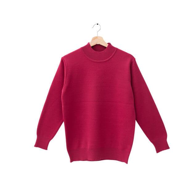 100%半高領玫瑰紅色18針防縮純羊毛衣