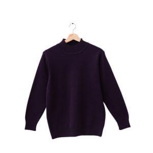 100%半高領紫色18針防縮純羊毛衣