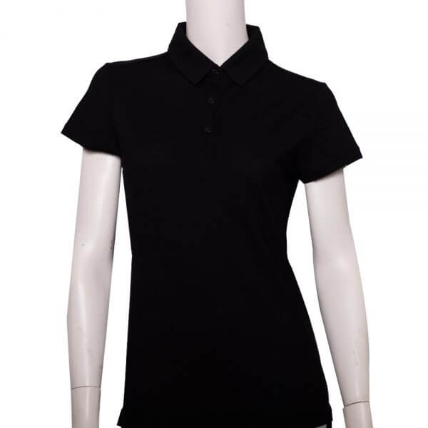 100%超細防縮羊毛的黑色POLO衫款