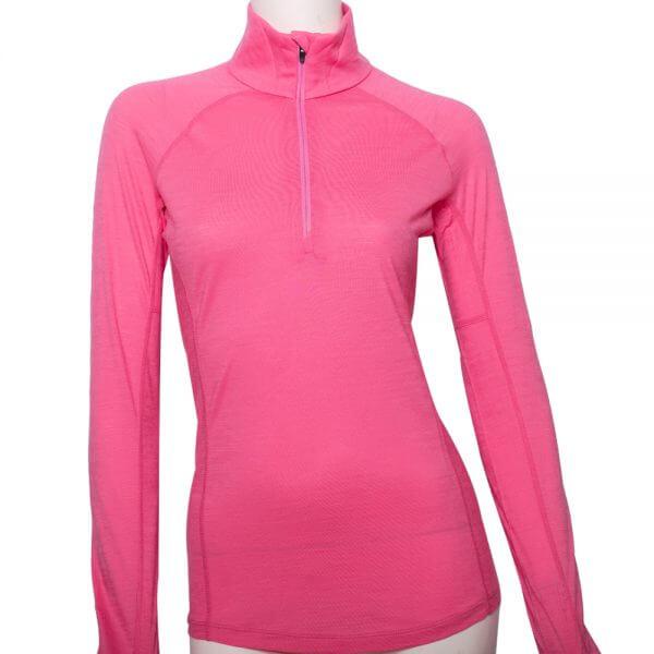 100%超細絲光羊毛的粉色半門襟擋風上衣