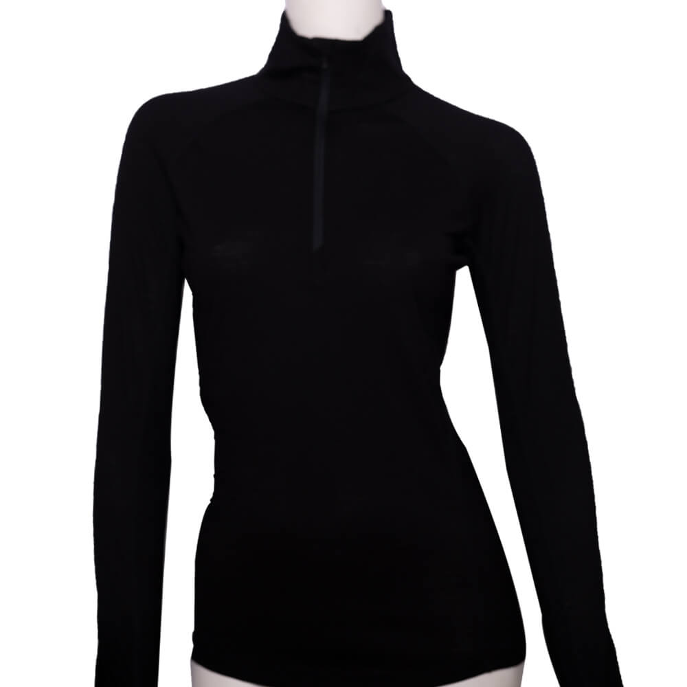 100%超細絲光羊毛的黑色的擋風半門襟上衣